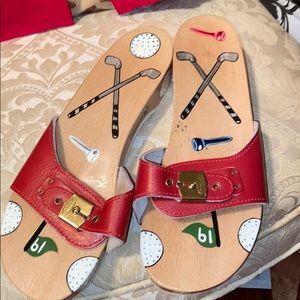 Dr scholl wood, leather, slide sandle